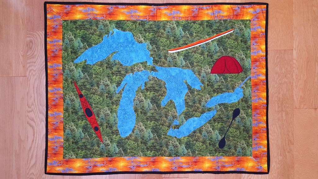 Great Lakes kayaking quilt by Joe Zellner.