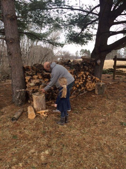 Chopping wood.