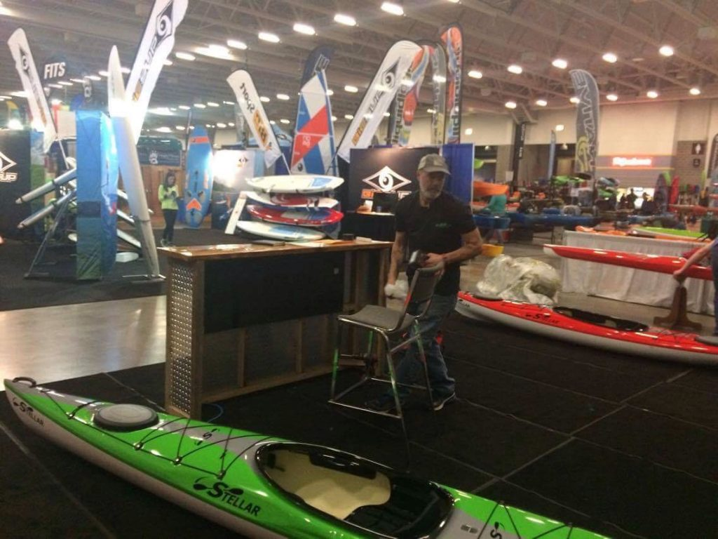 Joe Zellner setting up at Canoecopia 2017.