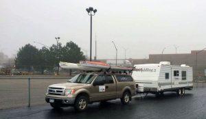 The 2 Paddling 5 truck, kayaks and trailer at Port Huron, Michigan.