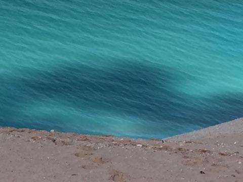 Deep blue water waves near Glen Haven, Michigan.