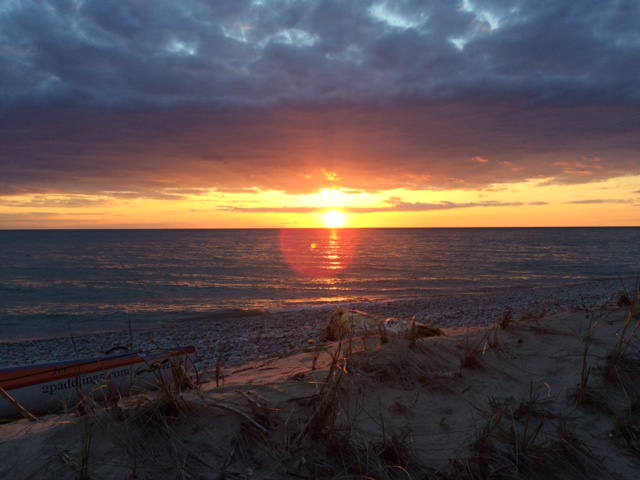 The sunset at our campsite 2 miles from Frankfort, Michigan.
