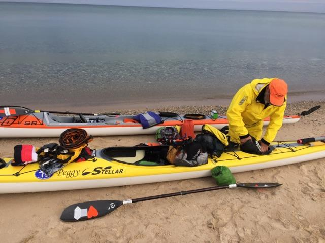 Joe packing and prepping his Stellar kayak.