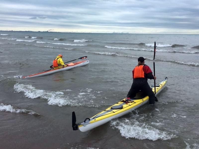 Kayaking onto the lake near Chicago, Illinois.