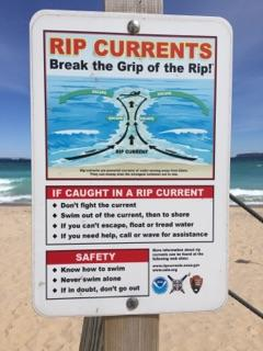 Rip Currents warning sign.
