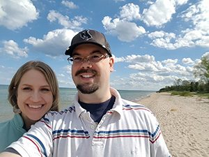 Vince and Audra Paul at Kohler-Andrae State Park beach.