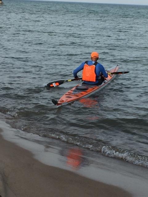 Joe kayaking near Weko Beach Park.