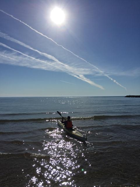 Kayaking near Kewaunee, Wisconsin.