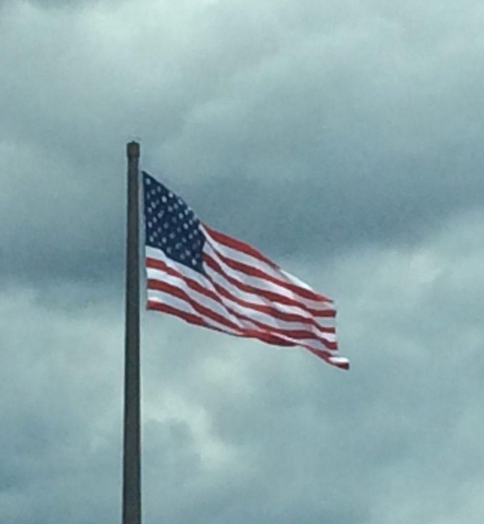 American flag off I-43 near Sheboygan, Wisconsin.