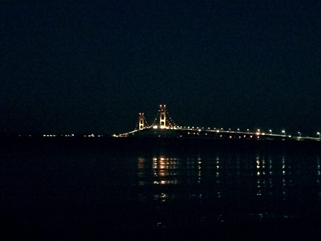 Mackinac Bridge at night.