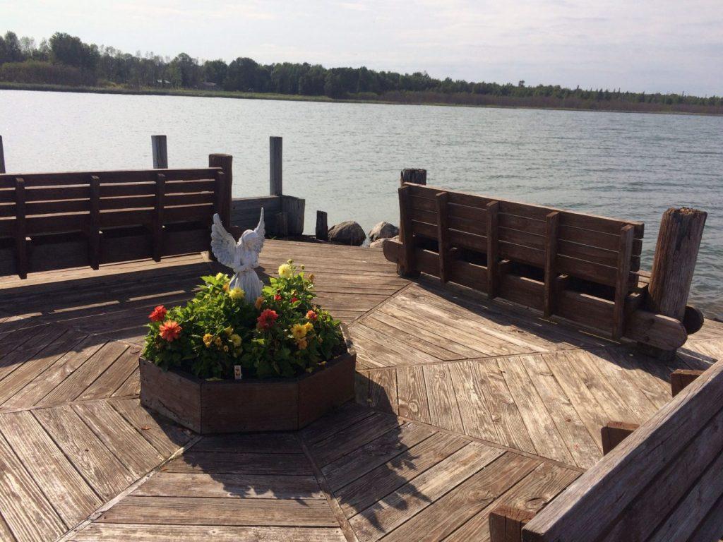 The benches at Raber Bay Landing, Michigan.