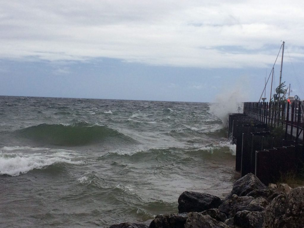Rough waves on Lake Superior at Whitefish Point Harbor, Michigan.