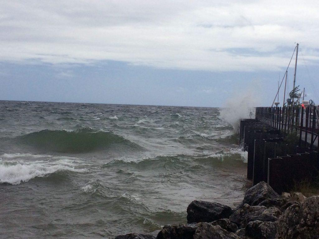 Rough waves on Lake Superior at Whitefish Point Harbor, Michigan.