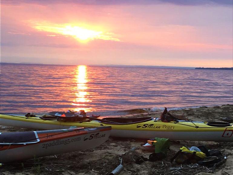 Lake Superior sunrise over Stellar Kayaks.