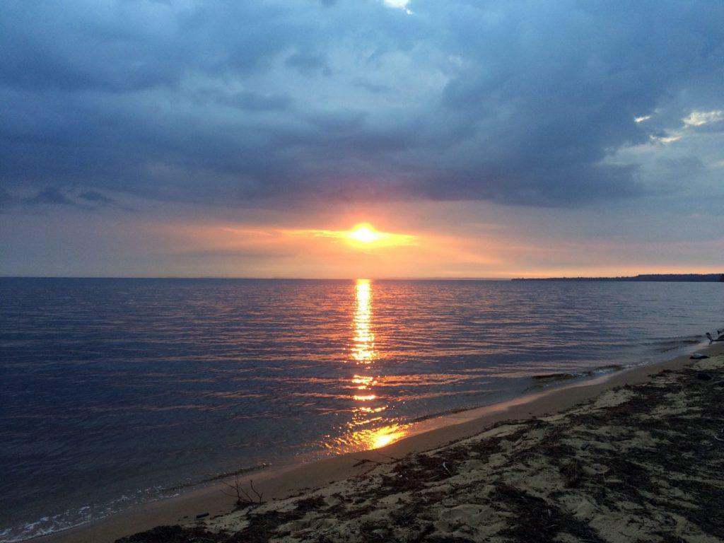 Sunrise over Lake Superior near Roxbury Creek, Michigan.