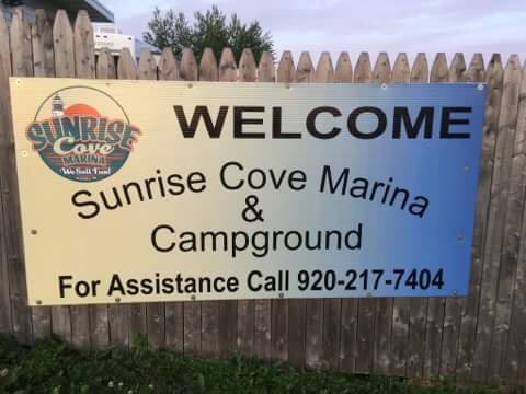 Welcome to Sunrise Cove Marina & Campground sign.