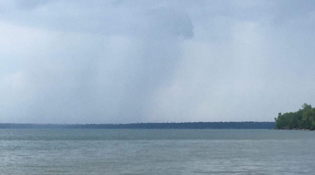 Rain on the way over Lake Superior near Meyers Beach, Wisconsin.