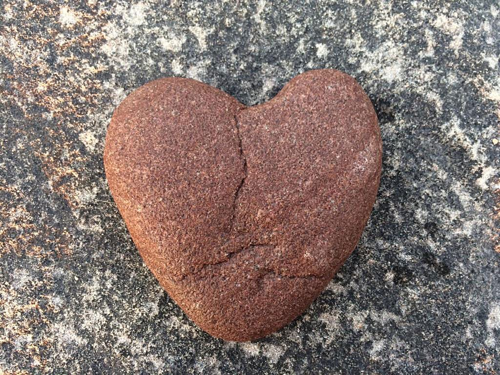 A reddish heart shaped rock.