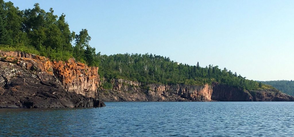 Rock walls on Lake Superior on way to Tofte, Minnesota.