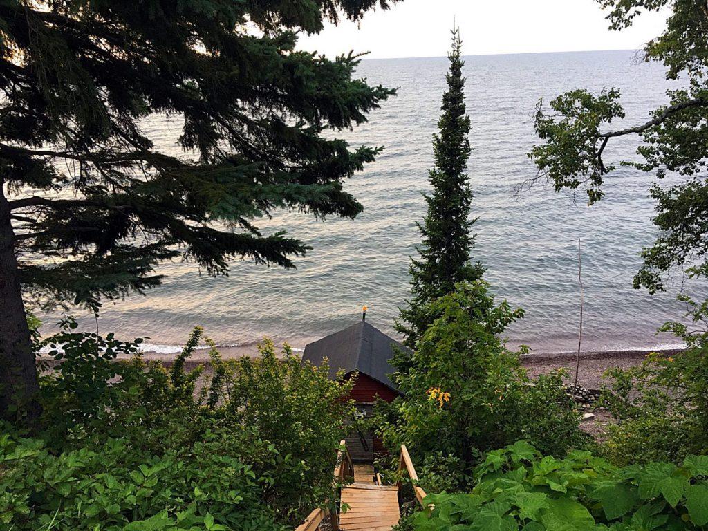 Lake view of Tofte, Minnesota beach.