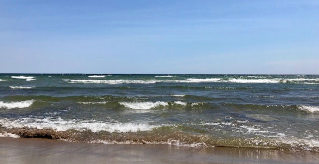 Lake Huron waves near Bass Lake Johnswood, Michigan 5-18-18.
