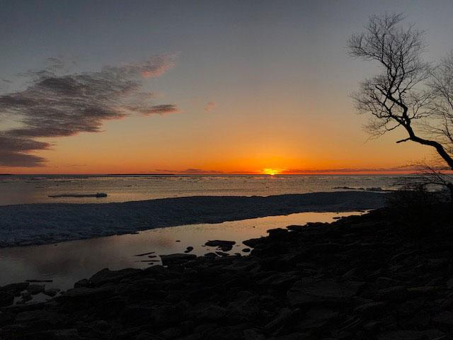 Ice packs on Lake Huron at sunset 5-13-18.