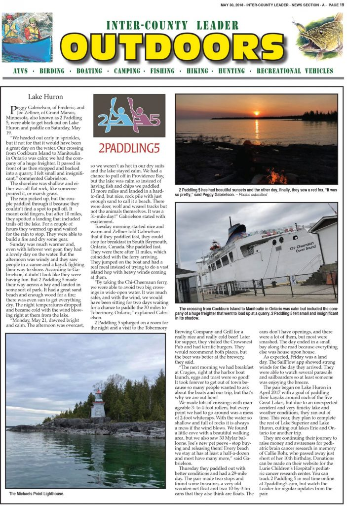 Inter-County Leader OUTDOORS: May 30th, 2018 Section A, page 19.